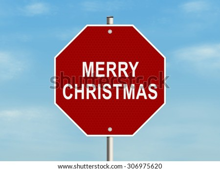 Merry Christmas. Road sign on the sky background. Raster illustration.