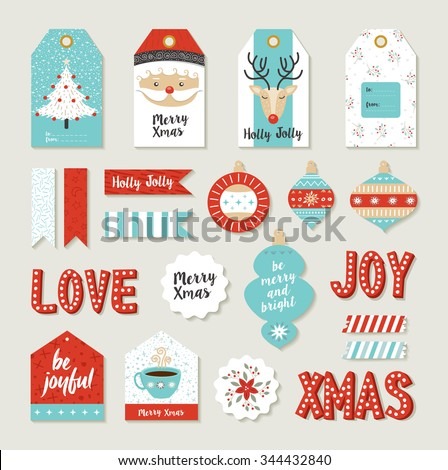 Merry christmas scrapbook set of printable DIY tags, signs and banners for holiday gifts or xmas decoration.  - stock photo