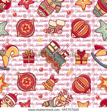 Merry Christmas. Seamless pattern. Abstract background. Holiday ornament. Season decoration. New year template. Congratulation message in Spanish - Feliz Navidad. Best for greeting card. Merry Xmas.  - stock photo