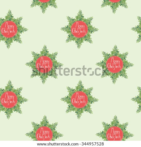 Merry christmas seamless pattern with snowflake decoration. watercolor tree