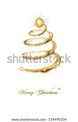 Merry Christmas seasonal greeting card with a spiral abstract tree of sparkling gold glitter decorated with stars and text isolated on white background - stock photo