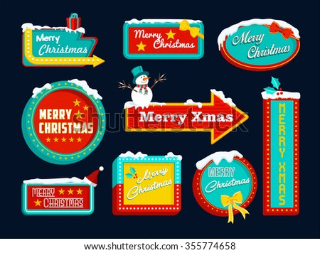 Merry Christmas set of retro signs with snow and holiday elements, snowman, gift, mistletoe. Ideal for xmas composition or vintage style design.  - stock photo