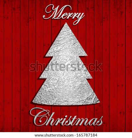 Merry Christmas,silver text, tree,red wood background