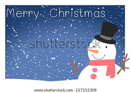 merry christmas snowman - stock photo