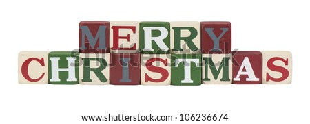 MERRY CHRISTMAS spelled out in red, white and green blocks isolated on white - stock photo