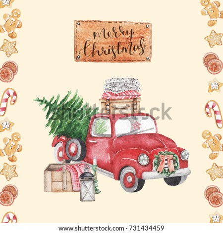 Merry Christmas Stylish Vintage Watercolor Illustration Red Car With Tree Card