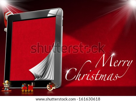 Merry Christmas - Tablet Computer / Tablet computer with red velvet pages, Christmas objects with word Marry Christmas on red velvet background