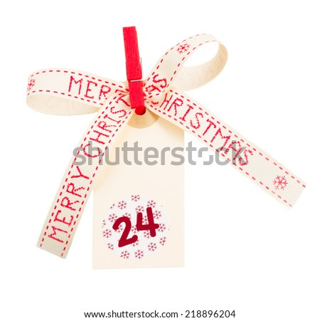 merry christmas tag  with bow isolated on white background - stock photo