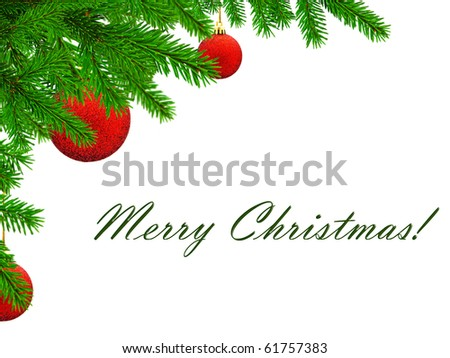 Merry Christmas theme with pine tree brunch and red balls, copyspace - stock photo