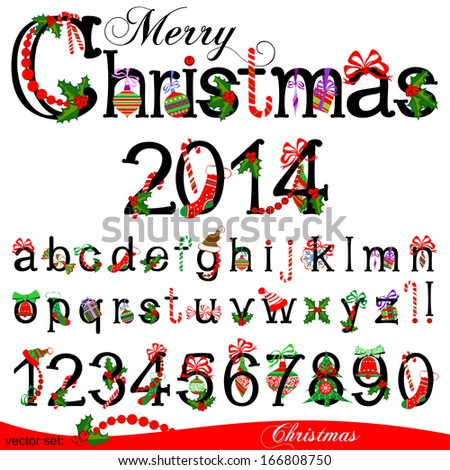 Merry Christmas Title and Collection of Isolated Christmas Numbers on White Background. Raster Version. - stock photo