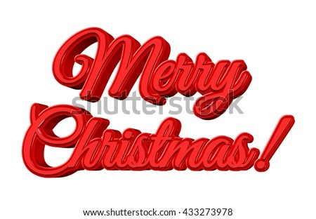 Merry Christmas! title written with red 3D letters, isolated on white. - stock photo