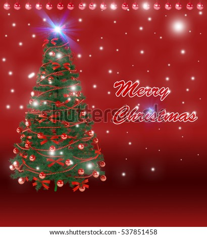 Merry Christmas tree and ornaments with Red background