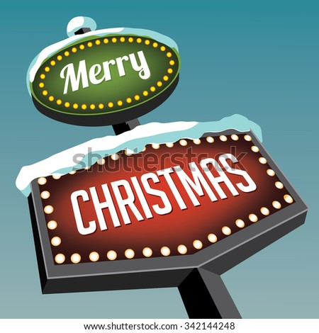 Merry Christmas Vintage Christmas Road sign. royalty free illustration. - stock photo