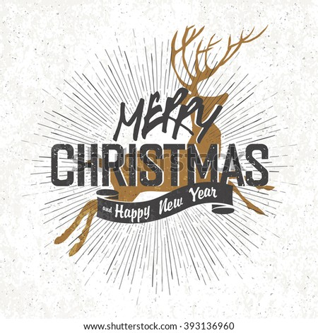 Merry Christmas Vintage Monochrome Lettering with Christmas deer silhouette on background. Raster version. - stock photo