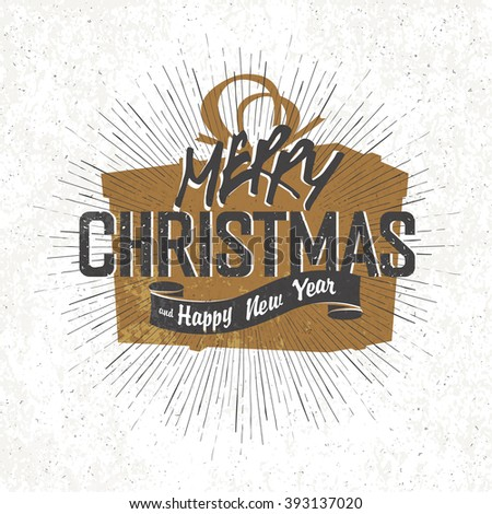 Merry Christmas Vintage Monochrome Lettering with Christmas gift box silhouette on background. Raster version. - stock photo