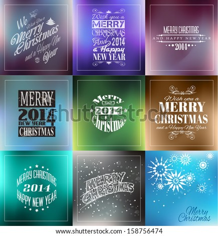 Merry Christmas Vintage retro typo background set  for your greetings or invitation covers. - stock photo