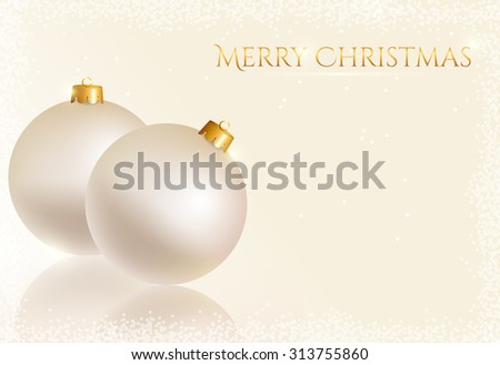 Merry Christmas! White greeting card with christmas balls and space for text. Raster background. - stock photo