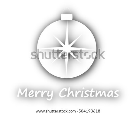 Merry Christmas with ball on white