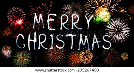 Merry Christmas With Fireworks. Christmas - stock photo