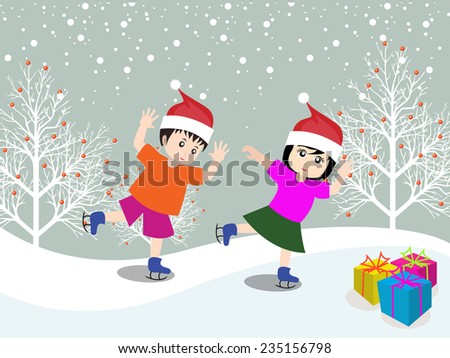 Merry christmas with happy kids - stock photo