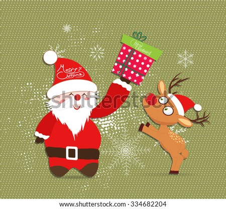 Merry Christmas with Santa claus and deer, gift illustrations