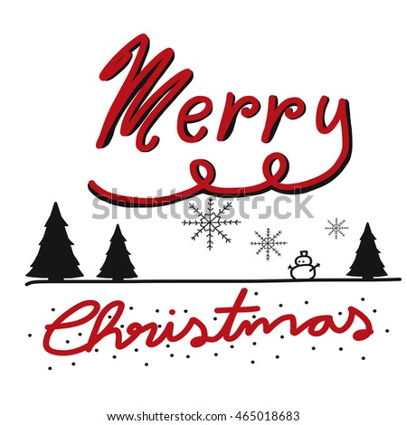 Merry Christmas Word And Tree Illustration