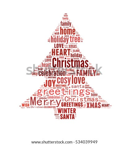 Merry Christmas Word Cloud Shaped As A Tree