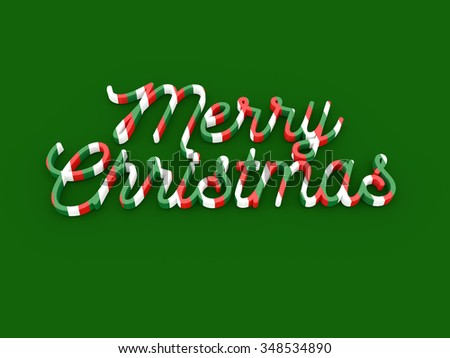 Merry Christmas wording on green background - stock photo
