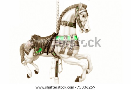 Merry-go-round horse - stock photo