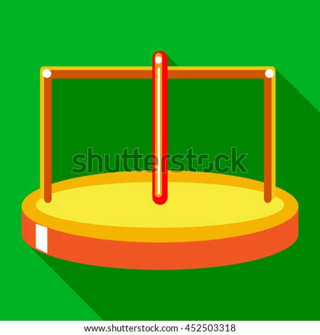 Merry go round icon in flat style on a green background - stock photo