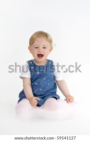 Merry toddler  on white background.