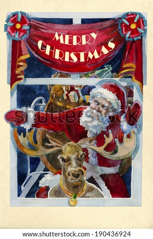 merry x-mas old fashioned christmas watercolor card with Santa and raindeer into the window in the holy night - stock photo