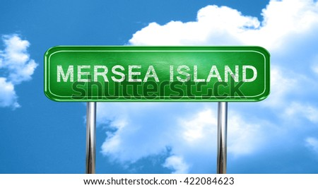 Mersea island vintage green road sign with highlights