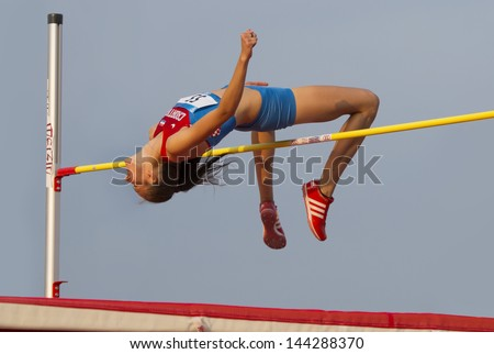 MERSIN - TURKEY - June 29: High jumper Ana Simic (Croatian athlete) competes at the Mediterranean Games Championships June 29, 2013 in Mersin Turkey. - stock photo
