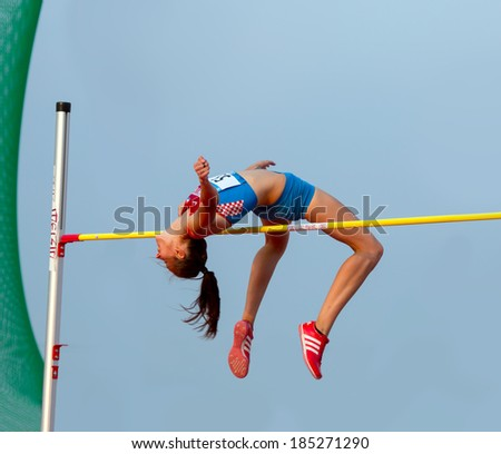 MERSIN - TURKEY - June 29: High jumper Ana Simic (Croatian athlete) competes at the Mediterranean Games Championships June 29, 2013 in Mersin Turkey.