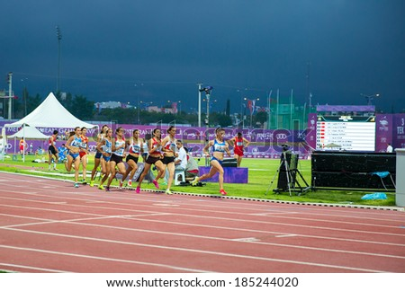 MERSIN - TURKEY - JUNE 28: Unidentified women athletes compete at the semi-final of 3000 meter steeplechase during 2013 Mediterranean Games Championships June 28, 2013 in Mersin Turkey  - stock photo