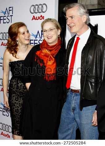 Meryl Streep, Amy Adams and John Patrick Shanley at the AFI FEST 2008 Opening Night Film Premiere Of 'Doubt' held at the Grauman's Chinese Theater in Hollywood on November 30, 2008.  - stock photo