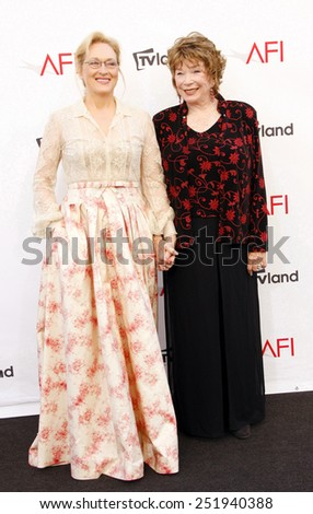 Meryl Streep and Shirley MacLaine at the 40th AFI Life Achievement Award Honoring Shirley MacLaine held at the Sony Studios in Los Angeles, United States, 070612. - stock photo
