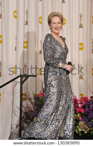 Meryl Streep at the 85th Academy Awards at the Dolby Theatre, Los Angeles. February 24, 2013  Los Angeles, CA Picture: Paul Smith - stock photo