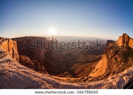 Mesa Arch at sunrise, Canyonlands National Park, Utah - stock photo