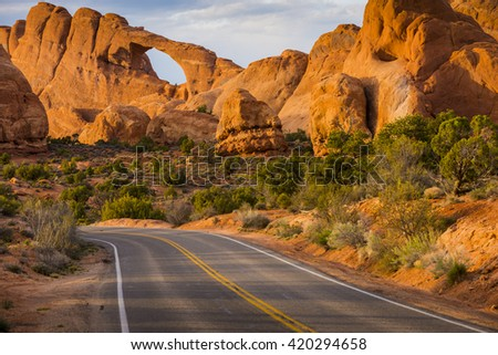 Mesa Arch in Canyonlands  Park scenic landscape view red rock - stock photo