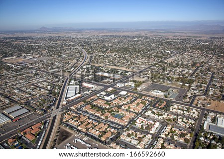 Mesa, Arizona from above with a view to the northwest along the consolidated canal - stock photo