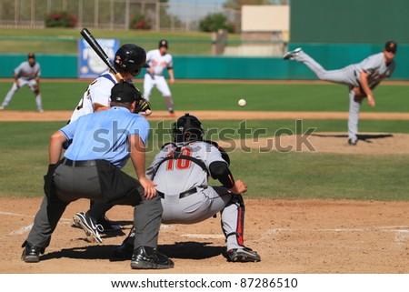 MESA, AZ - OCTOBER 17: Jarek Cunningham, a Pittsburgh Pirates prospect, bats for the Mesa Solar Sox in an Arizona Fall League game Oct. 17, 2011 at HoHoKam Stadium. Cunningham homered twice. - stock photo