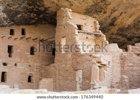 Mesa Verde National Park covers 52000 acres in southwestern Colorado. Its canyons were created by erosion from receding ancient oceans and waterways. - stock photo