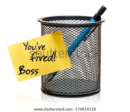 "Mesh black office holder with pencil and yellow sticker labeled ""you're fired"" isolated on pure white background - stock photo"