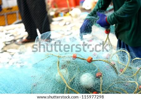Mesh fish traps in Thailand. - stock photo