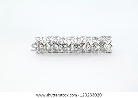 mesh metal balloon-expandable stent for endovascular surgery - stock photo