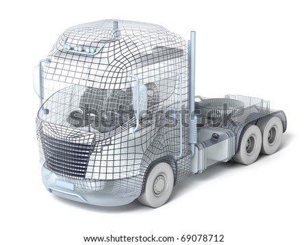 Mesh truck isolated on white. My own design