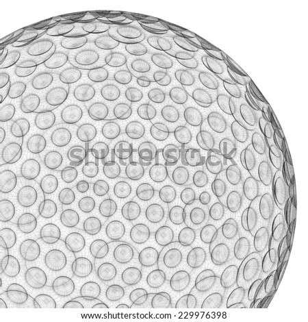 mesh wire rendering of a golf ball sphere in white back - stock photo