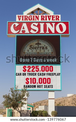 MESQUITE, NEVADA- MAY 24:  Virgin River Hotel on May 24, 2013  in Mesquite, NV. Virgin River's Casino is 40,000 sq ft, featuring 822 slot machines and 22 table games.